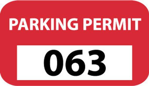 PARKING PERMIT, BUMPER, RED, 001-100