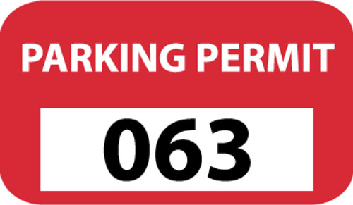 PARKING PERMIT, BUMPER, RED, 201-300