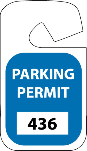 PARKING PERMIT, REARVIEW MIRROR, BLUE, 001-100