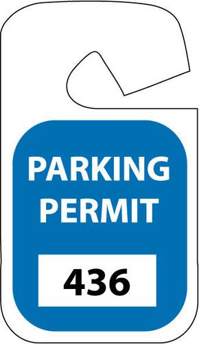 PARKING PERMIT, REARVIEW MIRROR, BLUE, 301-400