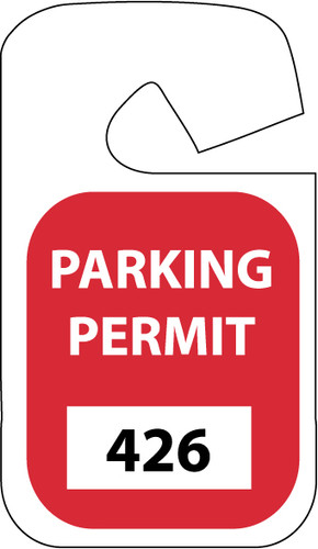 PARKING PERMIT, REARVIEW MIRROR, RED, 001-100