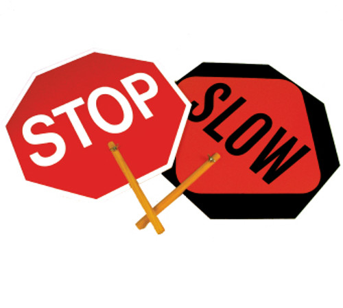 SAFE-T-PADDLE SIGNS, STOP/SLOW PADDLE, 18 IN, .040 ALUMINUM