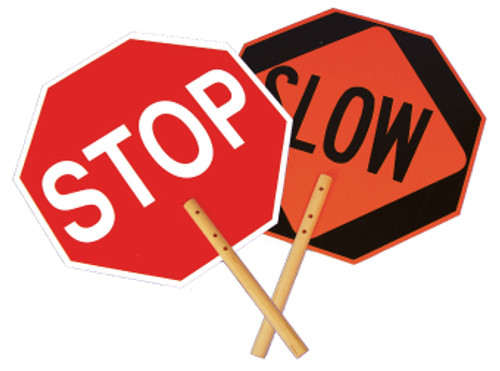 SAFE-T-PADDLE SIGNS, STOP/SLOW PADDLE, 18, .040 ALUM REFLECTIVE