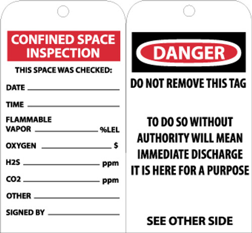 TAGS, CONFINED SPACE INSPECTION, 6X3, UNRIP VINYL, 25/PK