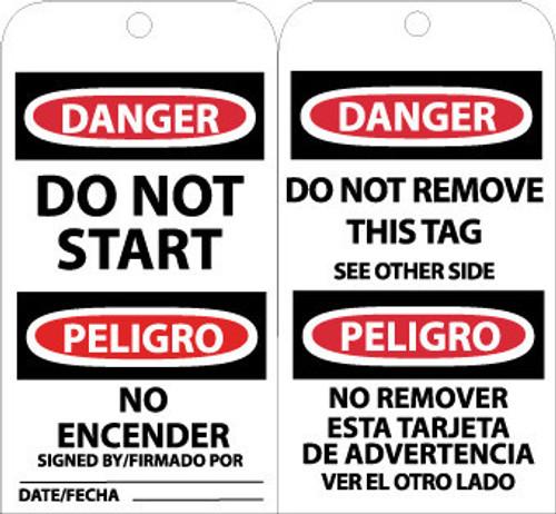 TAGS, DO NOT START (BILINGUAL), 6X3, UNRIP VINYL, 25/PK