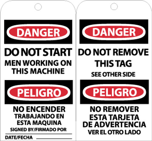 TAGS, DO NOT START MEN WORKING (BILINGUAL), 6X3, UNRIP VINYL, 25/PK W/ GROMMET