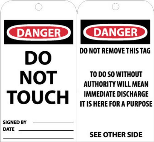 TAGS, DANGER DO NOT TOUCH, 6X3, UNRIP VINYL, 25/PK