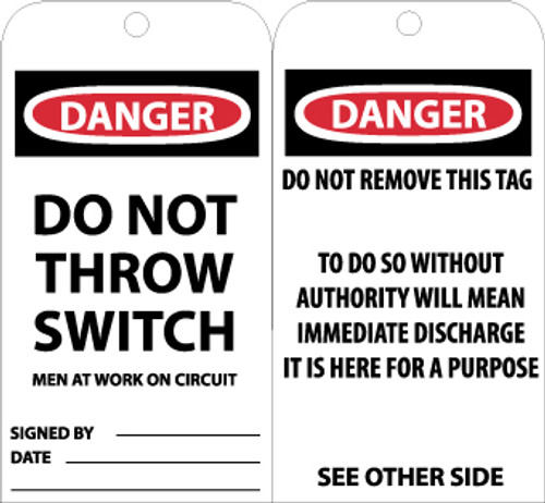 TAGS, DANGER DO NOT THROW SWITCH MEN AT WORK, 6X3, UNRIP VINYL, 25/PK