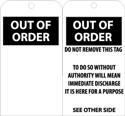 TAGS, OUT OF ORDER, BLANK, 6X3, .015 MIL UNRIP VINYL, 25 PK