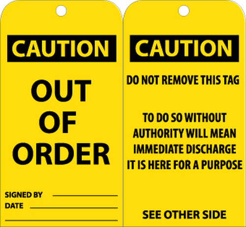TAGS, OUT OF ORDER, 6X3, .015 MIL UNRIP VINYL, 25 PK