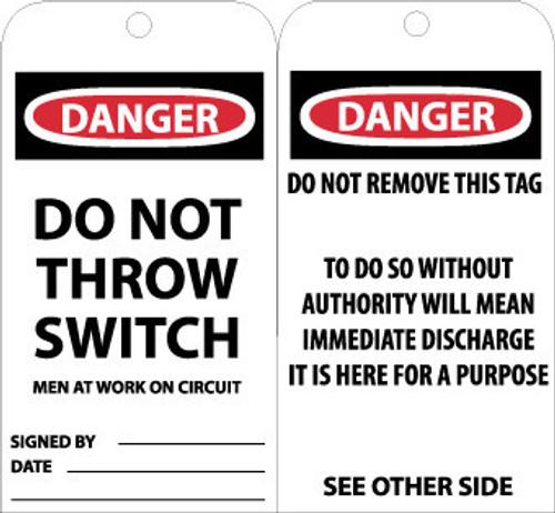 TAGS, DANGER DO NOT THROW SWITCH MEN AT WORK, 6X3, UNRIP VINYL, 25/PK W/ GROMMET
