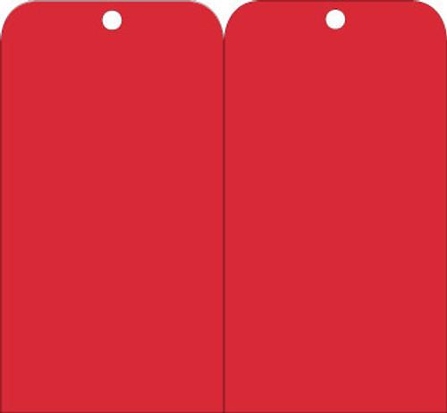 TAGS, RED BLANK, 6X3, .015 MIL UNRIP VINYL, 25 PK