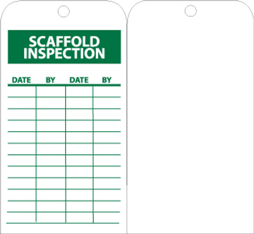 TAGS, SCAFFOLD INSPECTION, 6X3, UNRIP VINYL, 25/PK