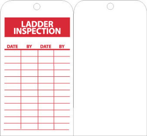 TAGS, LADDER INSPECTION, 6X3, UNRIP VINYL, 25/PK