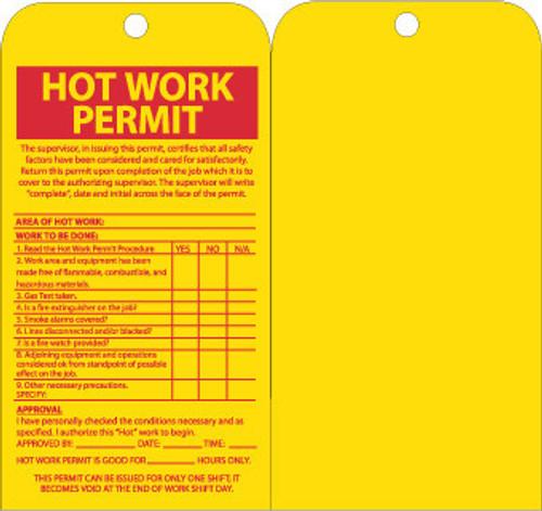 TAGS, HOT WORK PERMIT, 7.5X4, UNRIP VINYL, 10/PK