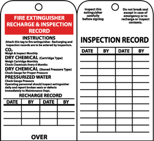 TAGS, FIRE EXTINGUISER RECHARGE AND INSPECT., 6X3, UNRIP VINYL, 25/PK W/ GROMMET