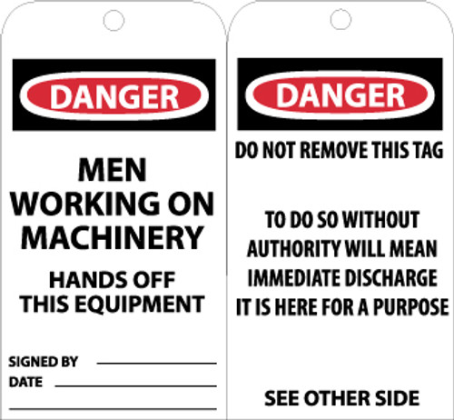 TAGS, DANGER MEN WORKING ON MACHINERY. . ., 6X3, UNRIP VINYL, 25/PK W/ GROMMET