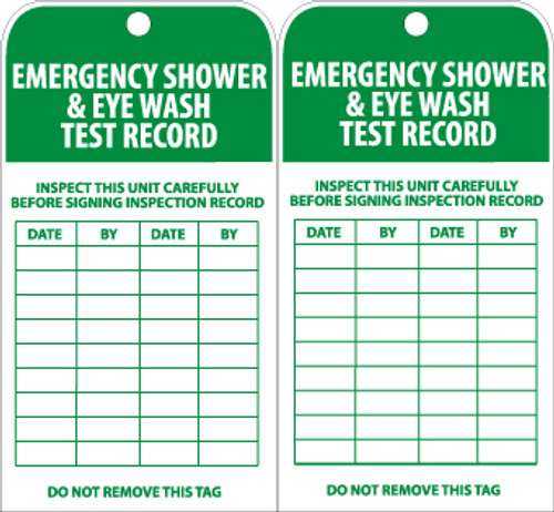 TAGS, EMERGENCY SHOWER AND EYE WASH TEST RECORD, 6X3, UNRIP VINYL, 25/PK W/ GROMMET