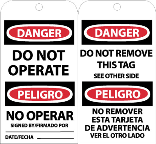 TAGS, DANGER DO NOT OPERATE (BILINGUAL), 6X3, UNRIP VINYL, 25/PK