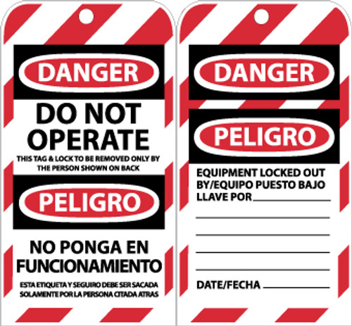 TAGS, LOCKOUT, DANGER DO NOT OPERATE. . .(BILINGUAL), 6X3, UNRIP VINYL, 10/PK