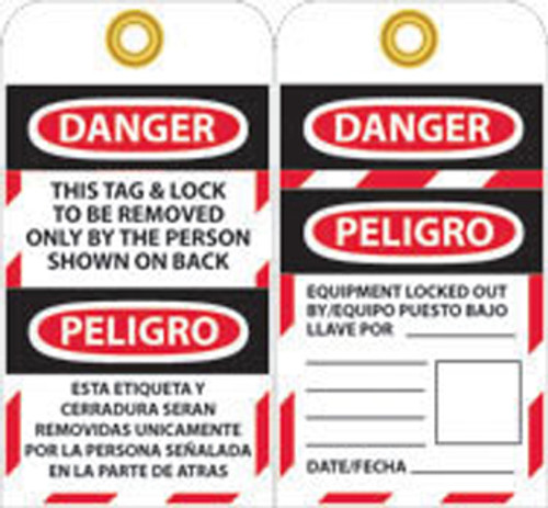 TAGS, LOCKOUT, DANGER THIS TAG & LOCK TO BE REMOVED ONLY. . .(BILINGUAL), 6X3, UNRIP VINYL, 10/PK