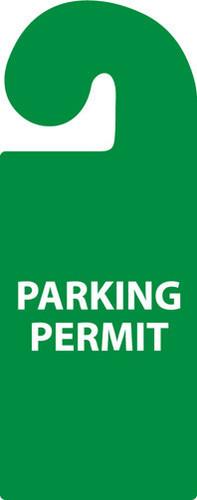 PARKING PERMIT, VEHICLE HANG TAG, PARKING PERMIT, 8 1/4X3 1/4, RIGID PLASTIC