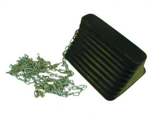 WHEEL CHOCK, RUBBER W/12 FT. CHAIN ATTACHED