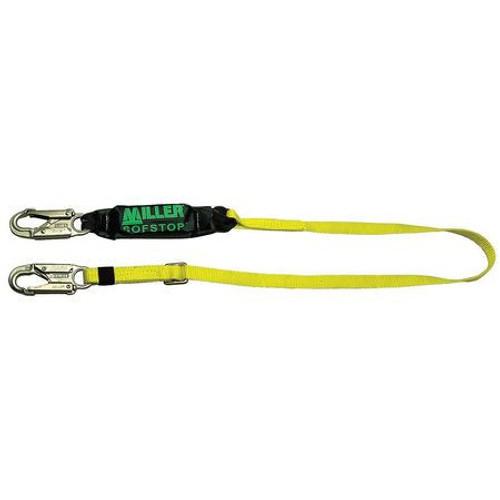 Miller Adjustable 6 ft. Single Leg Lanyard 2 Locking Snap Hooks - 910WLS-Z7/6FTYL