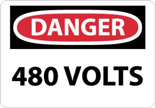 DANGER, 480 VOLTS, 3X5, PS VINYL, 5/PK