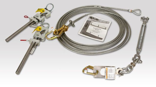Miller SkyGrip Galvanized Wire Rope Lineline Kit for I-Beams [30FT & 60FT]