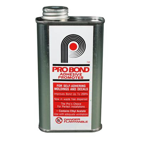 "Pro Bond Adhesive Promoter is used by professional installers to improve the adhesion of vinyl lettering, automotive aftermarket products as well as for help automotive window tint stick to the ""dot matrix"" section of windows."