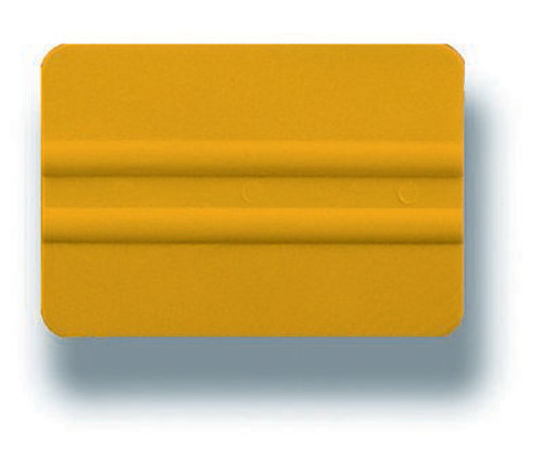 "GT087 - 4"" PVC Yellow Lidco Squeegee  Use with automotive window film installations, this softer squeegee (compared to the hard cards) are less likely to scratch glass and film during installation. Used for side windows, this orange card is softer than the related grey one."