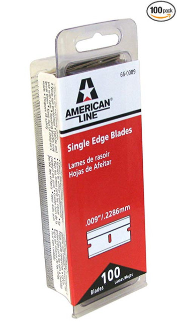 "These American Line razor blades represent the most popular combination of features in single edge razor blades with the distinction of the American Line brand and packaging.  Always high quality blades, these single edge razors have carbon steel edges, aluminum backing, and a thickness of .009"".  These Blades come packaged in attracitive clam shells and the master case serves as a display kit for easy retail displays."