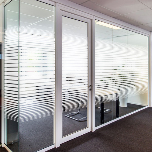 PVD7510-0002 Our Dual Line Gradient II is available in both Etched Glass and White Frost. It also comes in both 60in and 30in widths, so you can get the right privacy for your space. The 60in wide design consists horizontal lines starting with a 2 1/8in line in the center and getting progressively smaller on either side. The 30in wide is the same design at exactly half the size. Whether you choose etched or frost, it is a simple yet stylish way to add a little privacy to your home or office while still allowing lots of light.