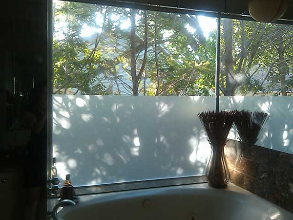 White Frost Privacy Window Film  1.5 Mil  Available from 1 foot to 6 ft wide  Privacy Window Film.  Hands down our most ordered window film! Our  PVD1501 White Frost Privacy Film is designed to look like professionally frosted glass, and its an excellent choice for windows in a bathroom, bedroom, apartment, or wherever privacy is most desired. With a VLT of 30%, this privacy film still allows about one third of the visible light in through the glass and rejects close to 99% of harmful UV rays. This film is constructed our pro grade adhesive making installation a breeze.