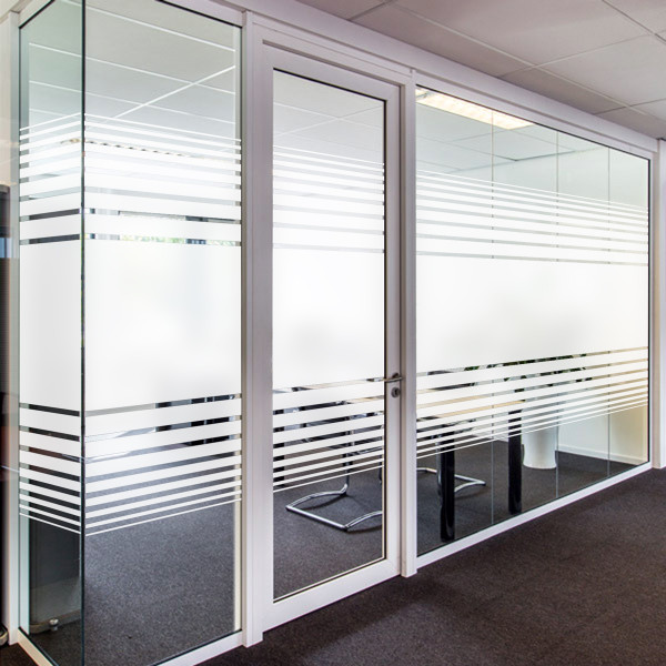 Dual Line Gradient I – Etched or White Frost (PVD7510-0001) Our Dual Line Gradient I is available in both Etched Glass and White Frost. It also comes in both 60in and 30in widths, so you can get the right privacy for your space. The 60in wide design consists of a 22in wide line in the center with lines on either side gradating down from 2in wide to ¼in wide, spaced ¾in apart. The 30in wide is the same design at exactly half the size. Whether you choose etched or frost, it is a simple yet stylish way to add a little privacy to your home or office while still allowing lots of light.