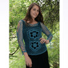 Cotton Crochet Long Sleeve Top With Flower Design And Side Arm Lace Up