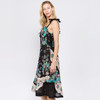 Christina Flower Printed Short Dress With Ties And Ruffle Detail