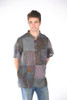 Max Cotton Men's Stonewash Patchwork Short Sleeve Kurtha