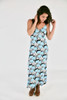 Spaghetti Strap Cotton\Spandex Blend Long Dress With Rose And Butterfly Print