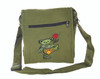 Cotton Square Shoulder Bag with Embroidered Bear