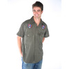 BABY BLUE SHIRT- Cotton Short Sleeve Button Down Shirt with SYF & Bolt Embroidery