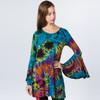 ROBYN BELL DRESS - Rayon Spandex Tie Dye Super Bell Sleeve Mini Dress