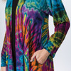 JUPITER JACKET Rayon Spandex Tie Dye Angle Cut Long Jacket With Pockets