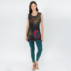 STANDING ON THE MOON TOP - Cotton Razor Cut Long Tank Top With SYF Applique-Black