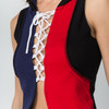 MINNIE VEST - Cotton Lace Up Hooded Top Red\Blue With SYF Applique