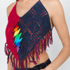 ROSEMARY TOP Cotton Two Tone Crochet Top With Tassels & Embroidered Rainbow Bolt