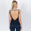 ECHOES TOP Cotton Lycra Open Back Tank Top with Pink Floyd Tie Dye Applique