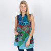 Hilary Top Shown In Teal Over Dye Patchwork