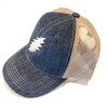 Embroidered Bolt Velcro Snapback Hat- Denim Blue With Tan Mesh